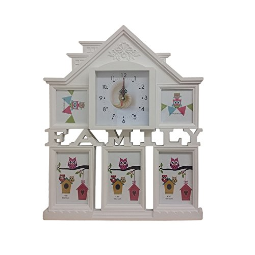 Collage Photo Frame with Wall Clock, White Family House Design 5 Slots for Pictures 3 4