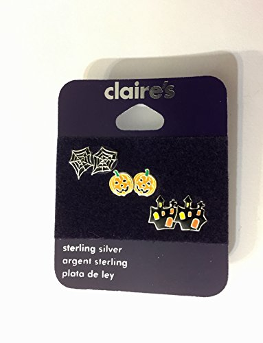 Claire's Halloween Set of 3 Pairs Sterling Silver Stud Earrings - Spider Web, Pumpkin, and Haunted -