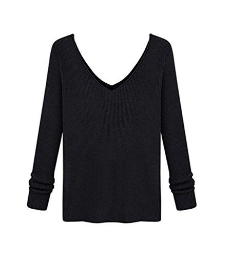 ZKOO Mujer Suéter Manga Larga en V Escote Sueteres Tejidos de Color Sólido Jerseys de Punto Basicas Sweater Negro