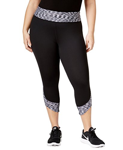 Calvin Klein Women's Performance Space-Dyed Compression Leggings (Black, 2X)