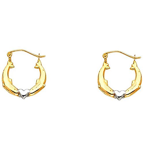 Women's 14K Two Tone Dolphin Hollow Hoop Earrings (0.66 in x 0.66 in) (Two Tone Ring Tiffany)