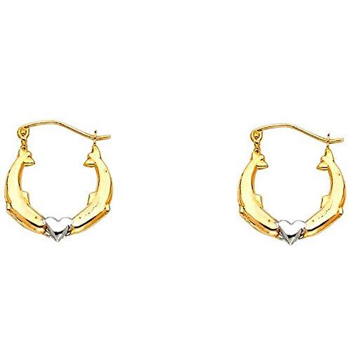 Women's 14K Two Tone Dolphin Hollow Hoop Earrings (0.66 in x 0.66 in)