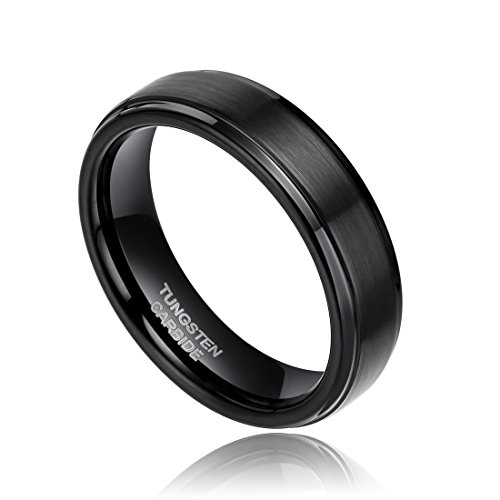6mm Black Tungsten Carbide Wedding Ring Band for Men Women Brushed Style Comfort Fit Size 4-13 (Tungsten Rings Black 6mm Men For)