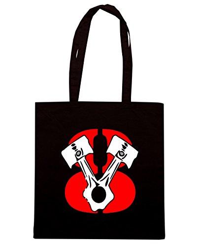 T-Shirtshock - Bolsa para la compra TR0147 V8 T-Shirt Muscle Car Negro
