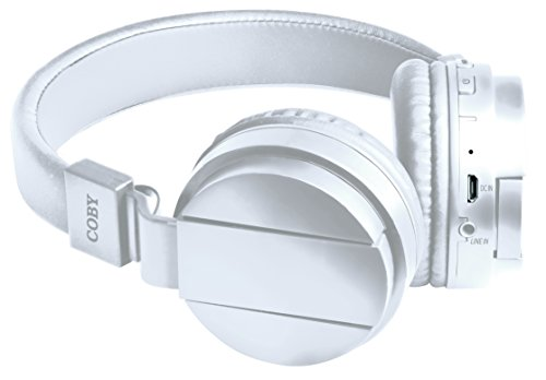 Coby CHBT-608-WHT Flex Bluetooth Headphones with Built-In Mi
