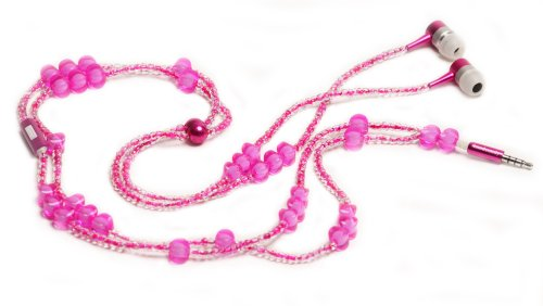 handcandy HF001NP The BETTY LadyBuds Stereo Headphone Necklace, Hot (Glass Beaded Ladybug)