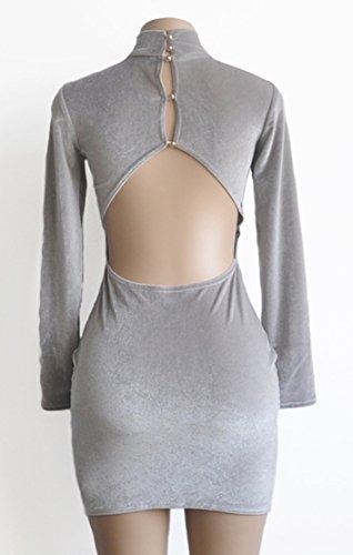 Femmes Manches Longues Sexy Faux Col Velours Moulante Dos Nu Partie Clubwear Gris Mini Robe