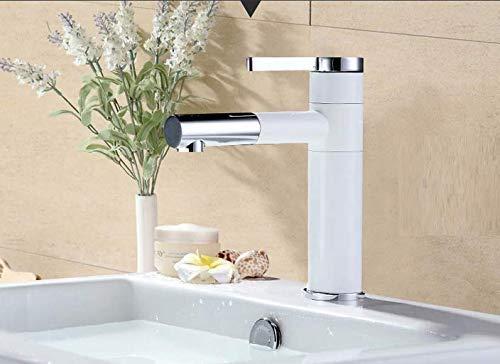 (White 360 Rotation Spray Painting Basin Taps Bathrooms Crane Single Handle Hot Cold Water Mixer Bathroom Basin Faucet)