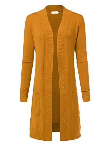 - Women's Solid Soft Stretch Longline Long Sleeve Open Front Cardigan 2XL Mustard