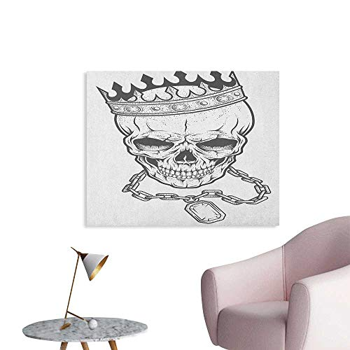 Anzhutwelve King Painting Post Sketchy Skull with Crown Hip Hop Street Style Necklace Chain Gem Image Print Poster Print Charcoal Grey White W32 xL24