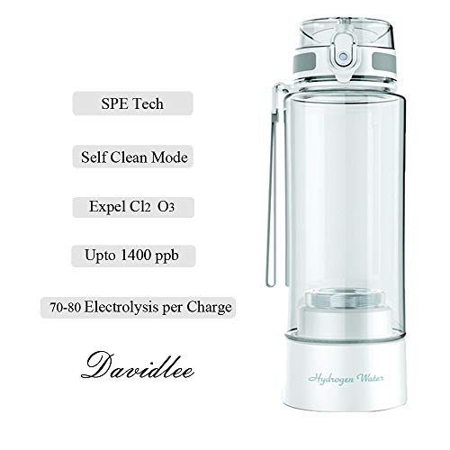 Davidlee Portable Hydrogen-Rich Generator Water Bottle PEM Technology Ionizer Mode 3 mins Self- cleaning Function High Concentration Discharge Ozone and Chlorine - 380ml F6 (Hydrogen Gas Generator Kit)