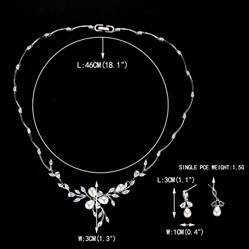 EVER FAITH Marquise CZ Simulated Pearl Bridal Flower Leaf Filigree Necklace Earrings Bracelet Set 4
