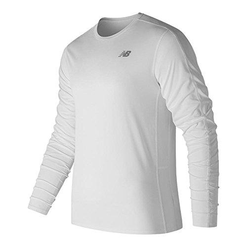 New Balance Mens Accelerate Long sleeve Tee Shirt, White, Medium