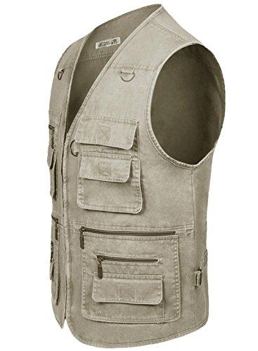 Eidlvais Men's Multi-Pockets Vest For Outdoors Travels Sports Khaki Size XL by Eidlvais (Image #1)