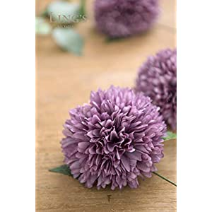 Ling's moment Artificial Flowers Real Looking Fake Chrysanthemum Ball w/Stem for DIY Wedding Bouquets Centerpieces Arrangements Party Baby Shower Home Decorations 4