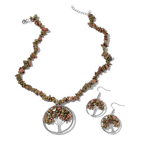 (Unakite Copper Tree Shepherd Hook Dangle Drop Earrings Necklace Set for Women Size 18-20