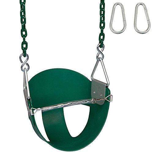 Swing Set Stuff Highback Half Bucket (Green) with 5.5 Ft. Coated Chain and SSS Logo Sticker -