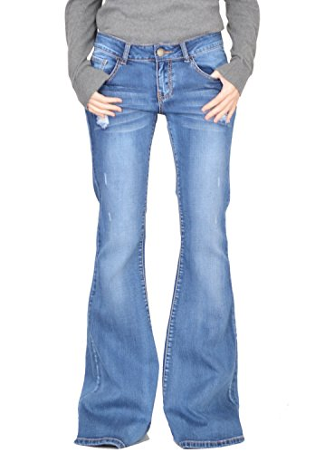 Glamour Outfitters 60s 70s Ripped Distressed Denim Flared Jeans - Blue (US16 / UK14)