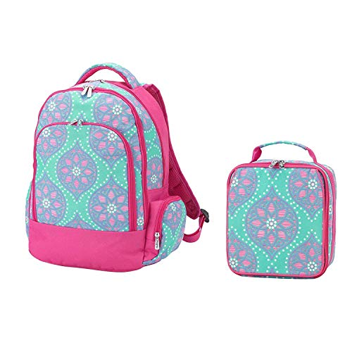 Reinforced Design Water Resistant Backpack and Lunch Sack Set (Personalized, Marlee Moroccan Tile)