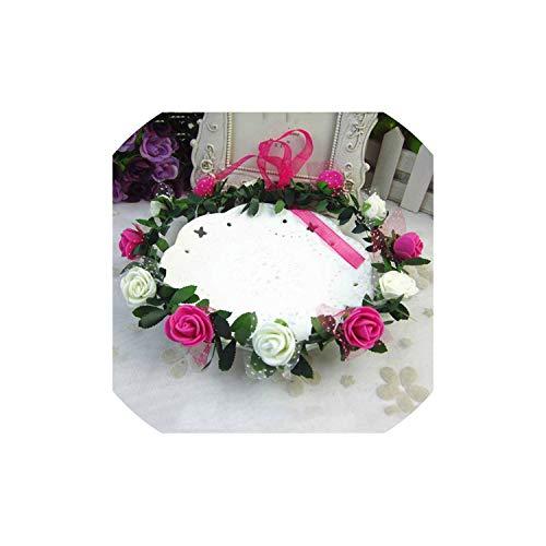 - Rose Carnations Peony Flower Halo Bridal Floral Crown Hair Wreath Mint Head Wreath Wedding Headpiece Bridesmaid,11