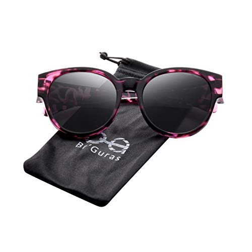 Br'Guras Polarized Oversized Fit over Sunglasses Over Prescription Glasses with Cat Eye Frame for Women&Men (Purple leopard, Black) (Prescription For Women Sunglasses)