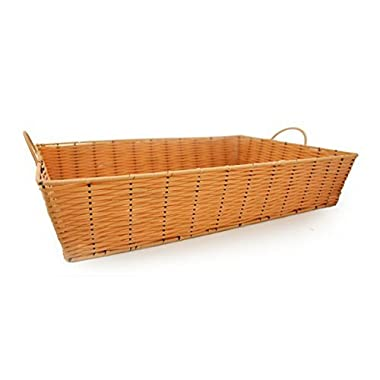 The Lucky Clover Trading Rectangular Synthetic Wicker Tray Basket with Handles, Clay
