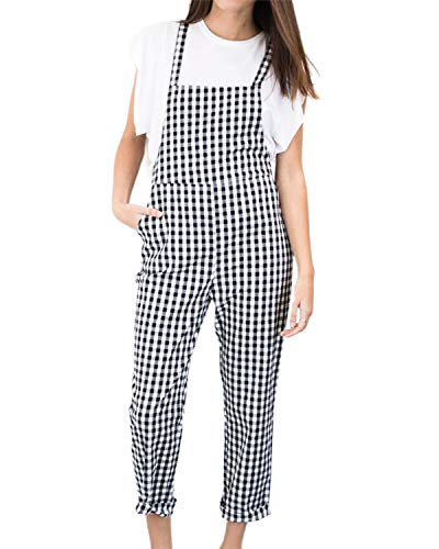 Celmia Women Plaid Jumpsuits Long Sleeveless Overalls Romper Straps with Pockets Black 2XL