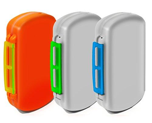 Easy Open Multi-day 6 Compartment Plastic Pills/Vitamins Pill Organizer Box, Jewelry box. (3 items) (Vitamins Plastic)