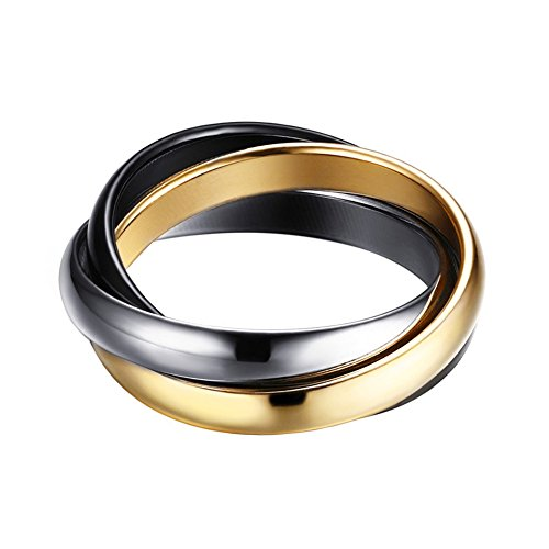 IFUAQZ Women's Stainless Steel Eternity Tricolor Interlocked Rolling Ring Charm Pendant Wedding Bands, 3mm Black Size 9