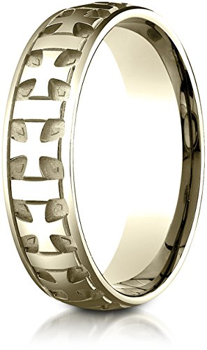 - Benchmark 18K Yellow Gold 6mm Comfort-Fit Gaelic Cross Carved Design Wedding Band Ring, Size 15.25