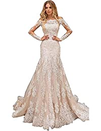 Lace Appliques Sheer Elegant Champagne Mermaid Wedding Dress Off Shoulder Long Sleeves Tulle Long Bridal Gowns