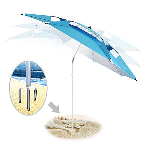 Portable Sun Shade Umbrella, DoerDo 2M With 360 Degree Inclined All Direction For All-Weather, With Floor Insert Tool, Heat Insulation, Antiultraviolet - Free Airflow Version
