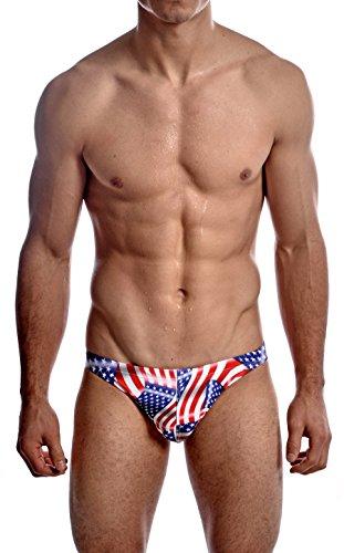 Gary Majdell Sport Men's USA Greek Bikini Swimsuit With Contour Pouch USA Flag Medium by Gary Majdell Sport