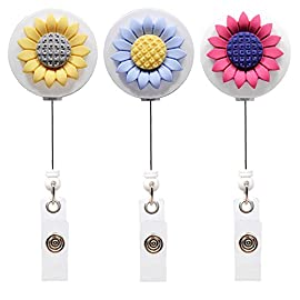 Qinsuee Retractable Badge Holder with Alligator Clip, 24 inch Retractable Cord, ID Badge Reel with Sunflower, 3 Pack 46 Retractable max length can be 24 inch,3 pack in total Pretty sunflower: three colors optional replacement Retractable badge reel is a convenient solution for scanning in at the office