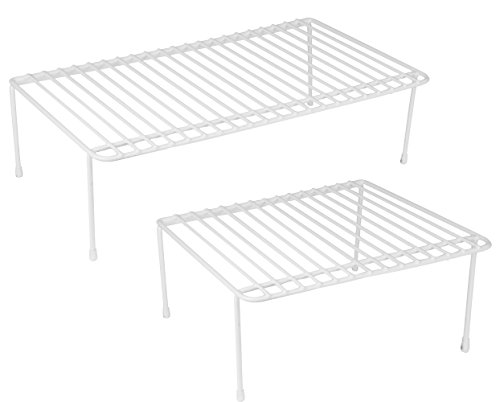 Helper Shelf Cabinet Organizer - DecorRack Set of 2 Counter Helper Wire Shelf, Kitchen Cabinet Shelf Organizer, Closet and Pantry Storage Extra Rack, Freezer Instant Space Organizer, Steel with White Plastic Coating