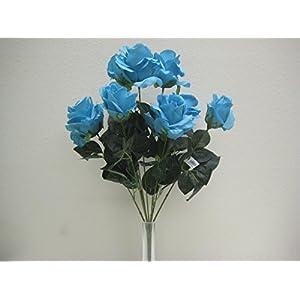 """Phoenix Silk Blue Turquoise Open Roses Artificial Flower Bush 20"""" Bouquet 9-6063TQ 101"""
