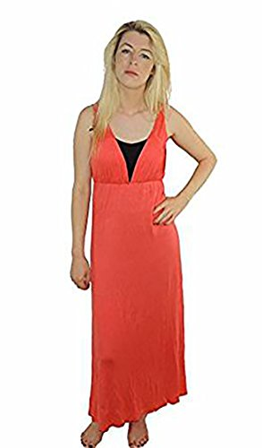 Ladies Cotton Bright Coral Deep V Neck Maxi Dress Beach Cover Up