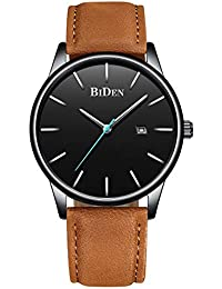 Mens Watches Ultra-Thin Quartz Analog Date Wrist Watch with Brown Leather Band