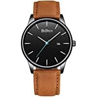 Men's Watches Ultra-Thin Quartz Analog Date Wrist Watch with Brown Leather Band