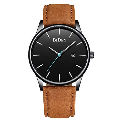 Men's Watches Ultra-Thin Quartz Analog Date Wrist Watch with Brown Leather ()