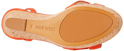 Nine West Joker ante de la cuña de la sandalia Red/Orange