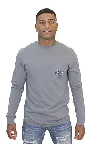 HARLEY-DAVIDSON Mens More to Speed Racing Flags Pocket Grey Long Sleeve T-Shirt (X-Large)