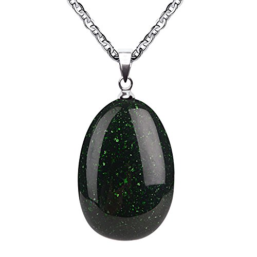 iSTONE Green Goldstone Water Drop Pendant Necklace with Stainless Steel Chain 20 - Pendant Necklace Goldstone