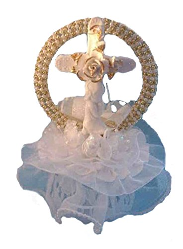Party Favors Plus Cross with Boy Child Gold Accent Communion Christening Cake Top - Christening Cake Tops