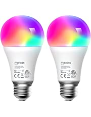 Smart Light Bulb 2 Pack - meross Smart WiFi LED Bulbs Works with Alexa, Google Home, Dimmable E26 Multicolor 2700K-6500K RGBWW, 810 Lumens 60W Equivalent, No Hub Required