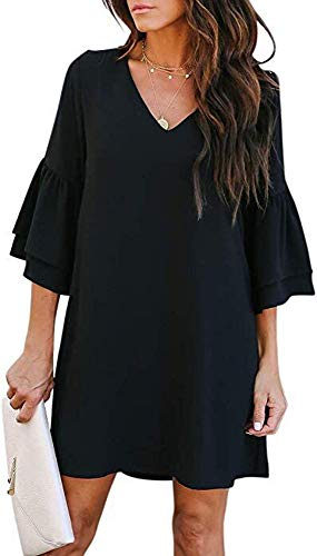 SVALIY Women's Chiffon V Neck Bell Sleeve Casual Loose Party Shift Mini Short Dresses Black S