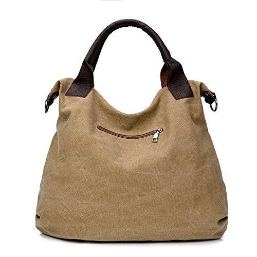 SUNXK 2020 ny axelväska resväska med stor kapacitet casual mode enkel enfärgad kanvas bärbar diagonal paket (färg: Kaki, storlek: 50 x 43 x 13 cm)