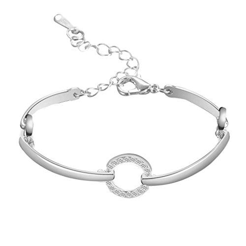 - Creazrise Clearance! Women's Round Rhinestone Bracelet Ladies Fashion Circular Wrap Bracelet Bangle (Silver)