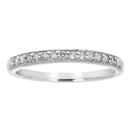 Diamond Ring Wedding Band Rings - 1/6 ctw Petite Diamond Wedding Band in 10K White Gold In Size 7