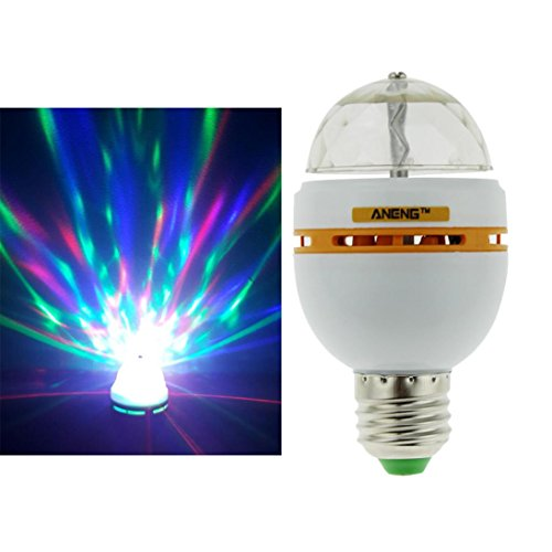 E27 3W Colorful Auto Rotating RGB LED Bulb Stage Light Party Disco Lamp (Yellow)